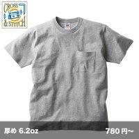 6.2ozオープンエンド バインダーネック ポケットTシャツ [OE1119] CROSS&STITCH-クロスアンドスティッチ
