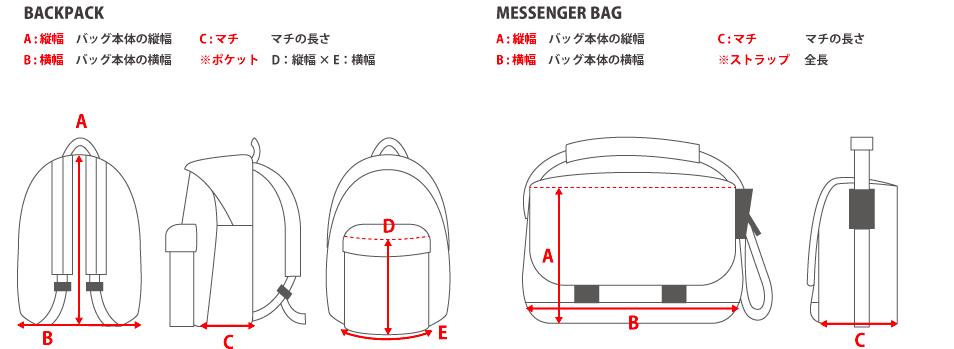 サイズの見方バッグ